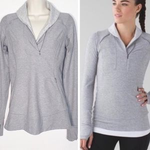 Lululemon think fast run pullover sz 6 grey white